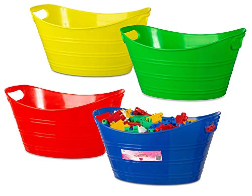 4 Pack - Oval Storage Tub with Handles, Colorful Classroom Organization Bins, Plastic Ice Bucket, Party Beverage Chiller Tub, 4.5L, Assorted Colored