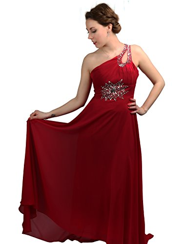 ROBLORA-Cocktail ceremonia vestido de noche vestido de dama de honor de la boda de bustier largo Celine10 Rojo