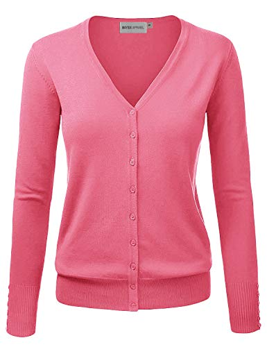(MAYSIX APPAREL Womens Long Sleeve Lightweight Button Down V-Neck Knit Sweater Cardigan CORAL L)