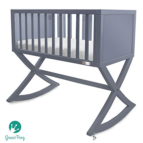 (Green Frog, Allegro Cradle | Handcrafted Contemporary Wood Baby Cradle | Premium Pine Construction | Rocking and Stationary | Modern Grey Color)