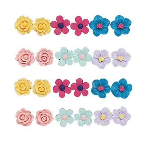 Spiritlele Colors Flower Magnetic Stud Earrings Set Clip Non Piercing Pack for Women