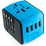 International Travel Adapter Universal Power Converter Worldwide All in One with 4 USB Ports and AC Socket European Adapter for US EU UK AUS Asia (Blue)
