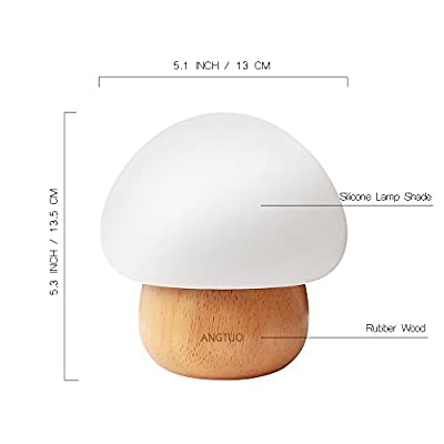 ANGTUO Night Light LED Mushroom Lamp Silicone with Wireless Remote Control 16 Different Color for Kid Bedroom - US Plug from ANGTUO