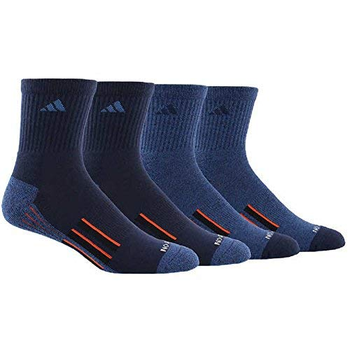 Crew Sock Pack 2 Navy (adidas Men's Performance Climalite High Quarter Compression, Color Crew Socks, Newest Design 4 Pair - Shoe Size (6-12) (2 Navy- 2 Blue))
