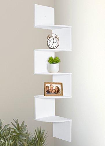 (Greenco 5 Tier Wall Mount Corner Shelves White Finish)