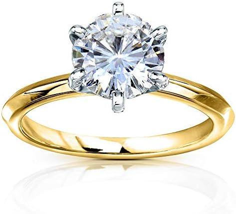 Kobelli Classic Solitaire Round Brilliant Moissanite Engagement Ring 2 Carats 14k Yellow Gold (FG/VS)