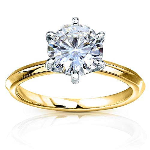 - Classic Solitaire Round Brilliant Moissanite Engagement Ring 2 Carats 14k Yellow Gold (FG/VS), 6