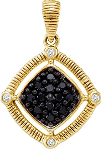 Aienid 14Kt Yellow Gold 0.22ct Black Diamond Pendant Necklace For ()
