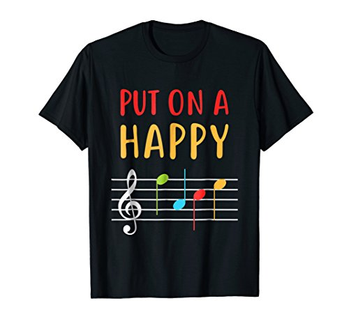 Funny Put On A Happy Face Music Notes Teacher (Happy Face T-shirt)