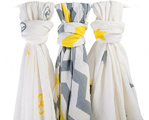 Premium Organic Muslin Swaddle, Baby Blankets, Super Soft, XL Receiving  Blanket, Breathable, Safe, Cute Unisex Baby Shower Gift, 3 yellow grey baby