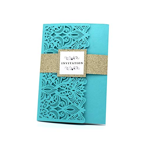 Invitation Cards with Envelopes for Wedding Invitations, Bridal Shower Invitations and All Celebration Party, Tiffany Blue*10 Pics