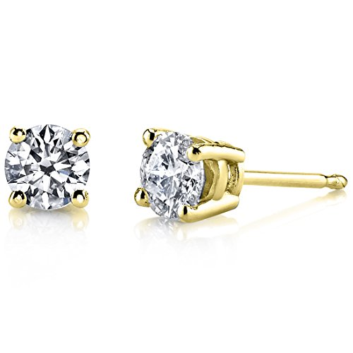 14 Karat Yellow Gold Lab-Grown Diamond Stud Earrings (1/5 ctw, H-I Color, SI Clarity) by Peora