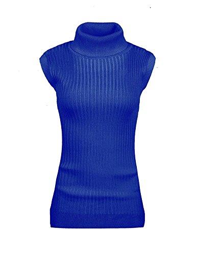 v28 Women's Ladies Juniors Sleeveless Mock Neck Turtleneck Tops Jumper Sweater(XL Blue)