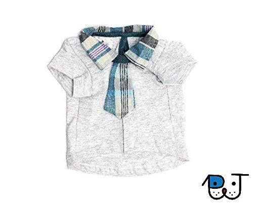 Roupa para Cães e Gatos Camisa com Gravata Cinza M