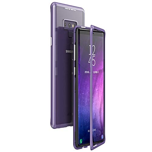 9 Magnetic Case Luxury Metal Frame Tempered Glass Back Cover for Galaxy Note 9 Case 360 Protection Shock Absorption Anti-Scratch Bumper Shell for Samsung Galaxy Note 9 Purple Case ()