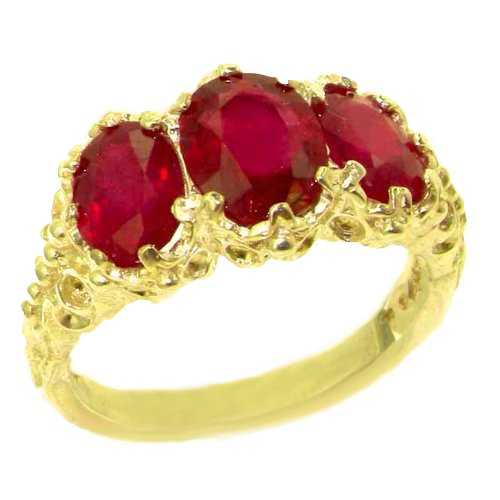 14k Yellow Gold Natural Ruby Womens Trilogy Ring - Sizes 4 to 12 Available 14k Yellow Gold Natural Ruby
