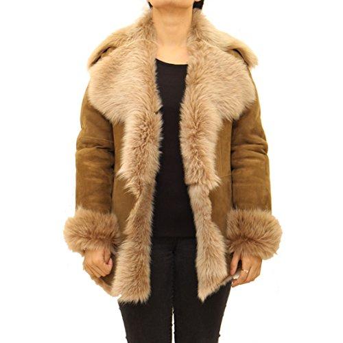Leather to ala Larga mujer Manga Z para A Cuello Abrigo wgCx4BZq