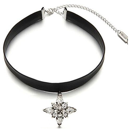 [Elakaka Women's Crystal Belt Short Leather Flower Pendant Necklace] (Wild Flower Child Hippie Costume)