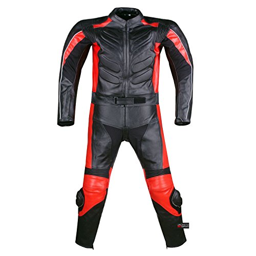 2PC MOTORCYCLE 2 PC LEATHER RACING SUIT ARMOR RED 42