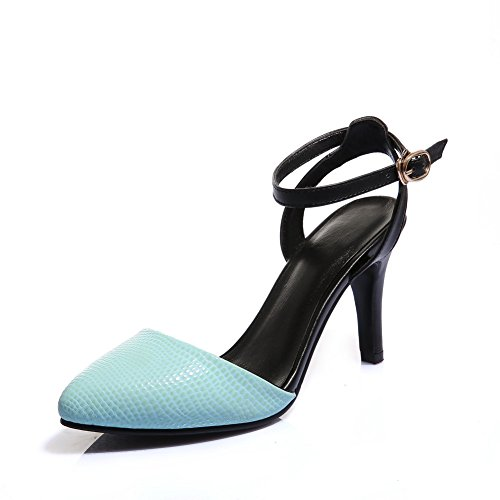 AmoonyFashion Womens Nappa Pointed Closed Toe High Heels Buckle Stripe Pumps Shoes Blue U4svq1w12