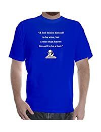 Mens cotton T-Shirt printed design William Shakespeare quote: A Fool