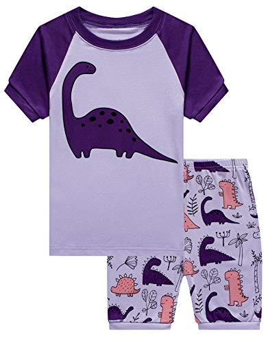 (Family Feeling Little Girls Dinosaur Summer Pajamas Short Sets 100% Cotton Pjs)