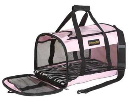 Petmate Soft-Sided Kennel Cab Pet Carrier,Pink/Zebra,Up to 2