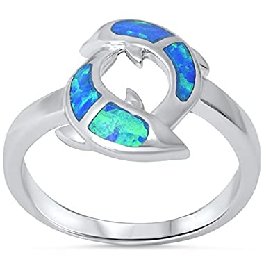 lab Created Blue Opal Dolphins .925 Sterling Silver Ring Size 6 no
