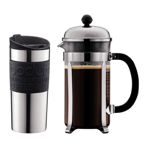 Bodum K11068-01 8 Cup Small Chambord Set Coffee Maker and Vacuum Travel Mug, 34 oz, Black (Vacuum Coffee Bodum)