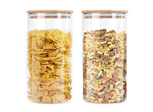 Slings Alco Borosilicate Modern Glass Jar Set, Airtight 1300ml, Set of 2
