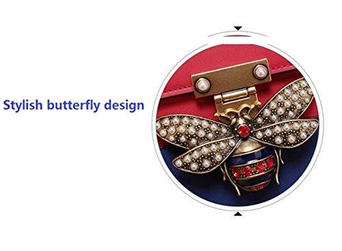 la la contraste hombro Messenger superior Bolso las de de Bolso cuero moda de Bolso Europa la de pequeña de abeja de del manija de América de Bag Redwhite señoras de la y parte pAxq5xY