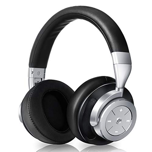 Active Noise Cancelling Bluetooth Headphones – Hi-Fi Stereo Swiveling Wireless Over Ear Headset with Mic and Portable Carrying Case, Compatible with iPhone, Smartphone, Tablet, Computer, PC and TV