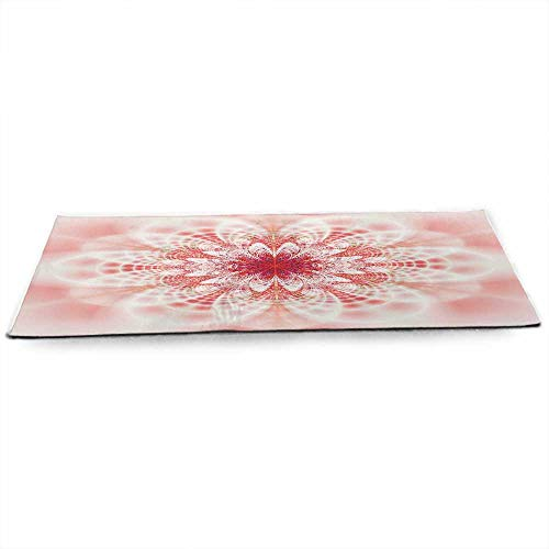 WinfreyDecor Light Pink Eco Friendly Yoga Mat Kaleidoscopic Psychedelic Fractal Fantasy Lotus Mandala Inspired Digital Art for All Types of Yoga, Pilates & Floor Exercises W24 x L70 Multicolor