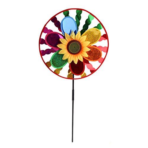 (Richi Plastic Colorful Sunflower Windmill Wind Spinner Home Garden Yard Decoration Kids Toy)