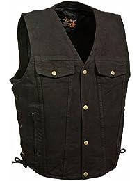 Men's Side Lace Denim Vest w/ Chest Pockets (Black,)