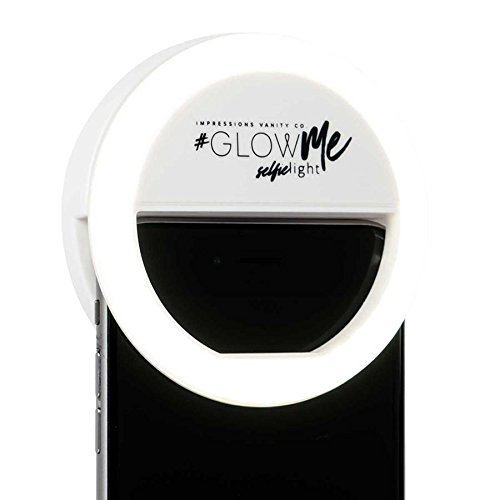 Impressions Vanity Company Glowme 2.0 USB Rechargeable LED Selfie Ring Light, White, 4.5 Ounce