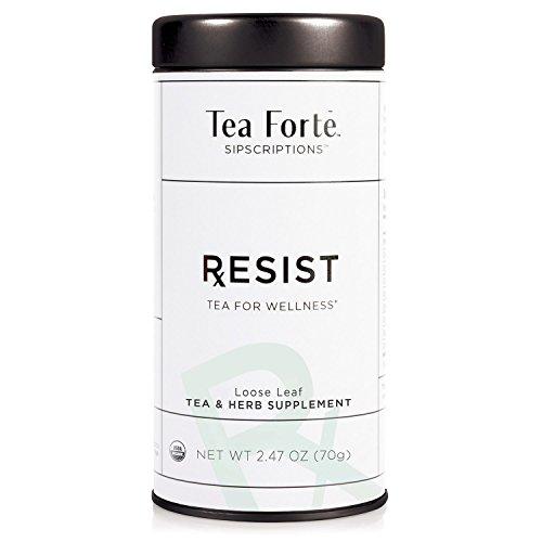 Tea Forté SIPSCRIPTIONS RESIST Organic Immune Defense Tea with Ginger and Echinacea, Loose Leaf Green Tea & White Tea, 2.47 Oz Tea Tin ()