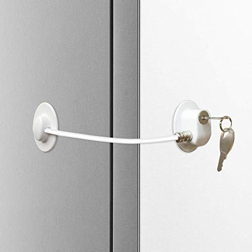 Alamic Refrigerator Door Lock - Freezer Door Lock Cabinet Lock Strong Adhesive Cable Lock Security Door Lock, White