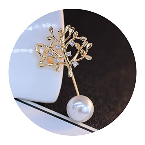Creative Brooch Pin Shiny Zircon Simple Accessories Brooch/Fashion Pearl Pin/Women'S Cardigan Anti-Light Fixed Clothes Pin,Small tree zirc,White beads XZ Badge Pin Lapel ()