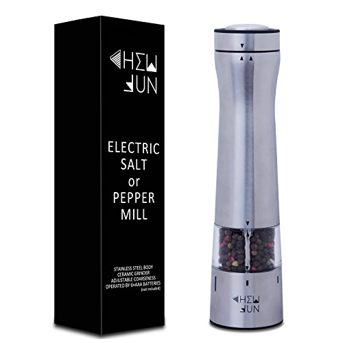 Electric Pepper Grinder or Salt Grinder Mill with Adjustable Coarseness Ceramic Mechanism, One-Hand Battery Operated with LED Light at bottom, Brushed Stainless Steel by CHEW (Pepper Mill Mechanism)