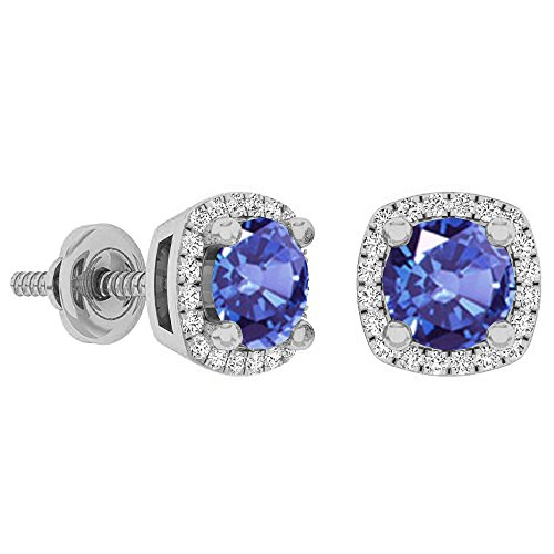 10K White Gold 5 MM Each Round Cut Tanzanite & White Diamond Ladies Halo Stud Earrings (White Tanzanite Gold Diamond Earrings)