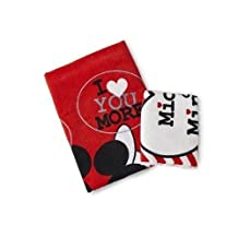 Mickey and Minnie Mouse Luv You More Bath Towel and Wash Cloth, I Heart You More, Matches the Fabric Shower Curtain, Red, Black, White by Disney