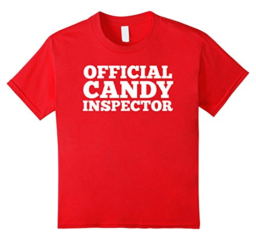 Funniest Easy Halloween Costumes (Kids Official Candy Inspector On Duty Shirt Halloween Costume 10 Red)
