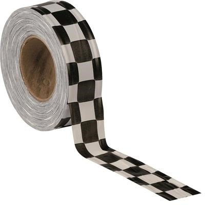 PRESCO Matte Checkered Flagging Tape, Red on Black By Tabletop King