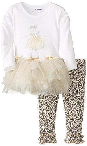 Blueberi Boulevard Baby Girls' Cream Tutu Dress with Legging, Cream, 24 Months