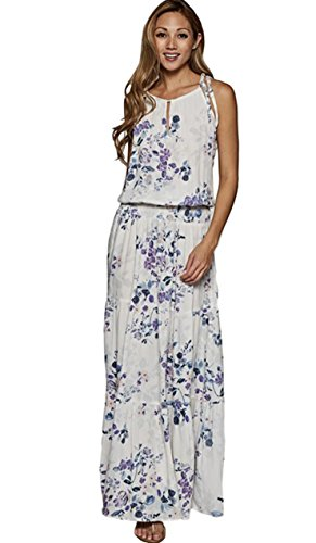 Love Stitch Floral Sleeveless Maxi Dress with Smocked Waist and Tiered Skirt (Large, (Love Stitch)