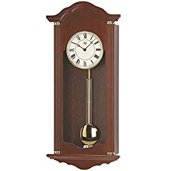 River City Clocks 5205W Walnut Chiming Wall Clock with Brass Accents