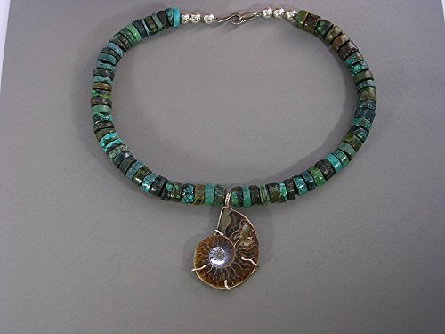 Turquoise and fossil set in silver necklace