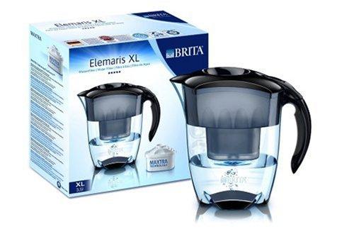 Brita Elemaris XL Premium Design-Wasserfilter 3,5 l mit 1 Maxtra-Kartusche, schwarz