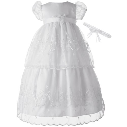 Lauren Madison Baby-Girls Christening Baptism Special Occasion Multi Tiered Organza Embr.Gown, White, 6-9 ()